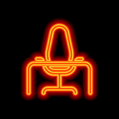 Office chair and table, outline linear icon. Orange neon style on black background. Light icon Stockfoto - 148447581