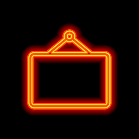 Photo frame for picture, outline linear icon. Orange neon style on black background. Light icon