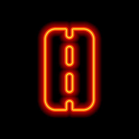 Road or highway, simple icon. Orange neon style on black background. Light icon
