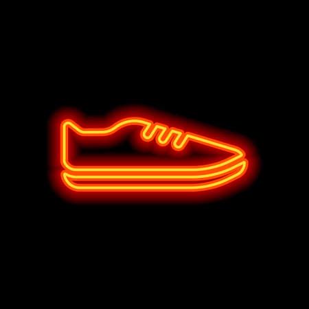 Shoe or sneaker, icon of sport. Orange neon style on black background. Light icon