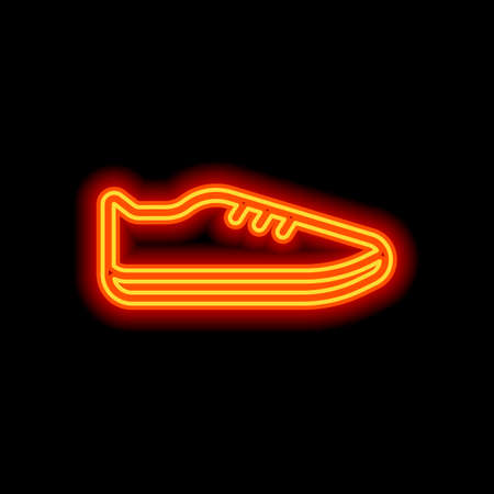Shoe or sneaker, outline linear icon of sport. Orange neon style on black background. Light icon