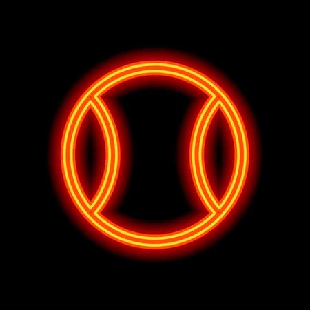 Tennis ball, sport game, outline linear icon. Orange neon style on black background. Light icon