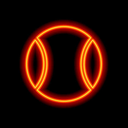 Tennis ball, sport game, simple icon. Orange neon style on black background. Light icon Illustration