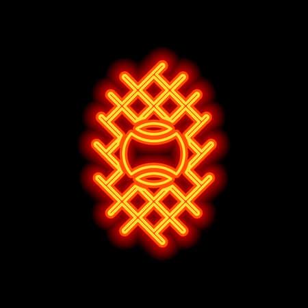 Tennis ball and grid, sport game icon. Orange neon style on black background. Light icon Illustration