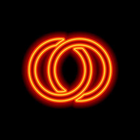 Wedding rings, pair linked circles, simple icon. Orange neon style on black background. Light icon Stock fotó - 147893848