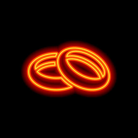 Wedding rings, pair circles, simple icon. Orange neon style on black background. Light icon