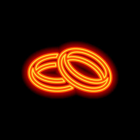 Wedding rings, pair crossed and linked circles, linear outline icon. Orange neon style on black background. Light icon