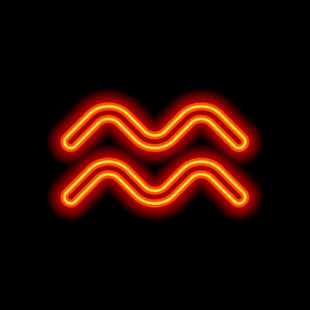 Astrological sign. Aquarius simple icon. Orange neon style on black background. Light icon