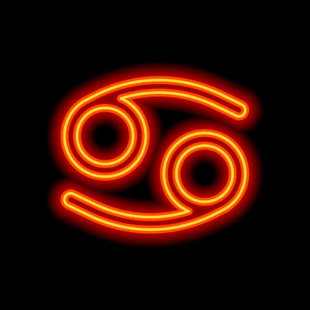 Astrological sign. Cancer simple icon. Orange neon style on black background. Light icon
