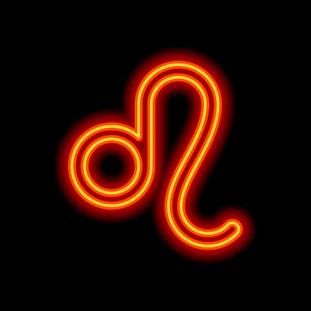 Astrological sign. Leo simple icon. Orange neon style on black background. Light icon