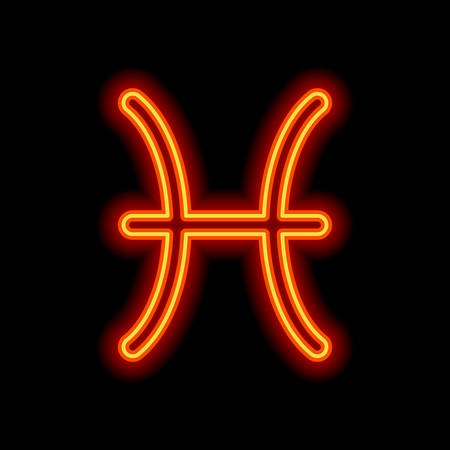Astrological sign. Pisces simple icon. Orange neon style on black background. Light icon