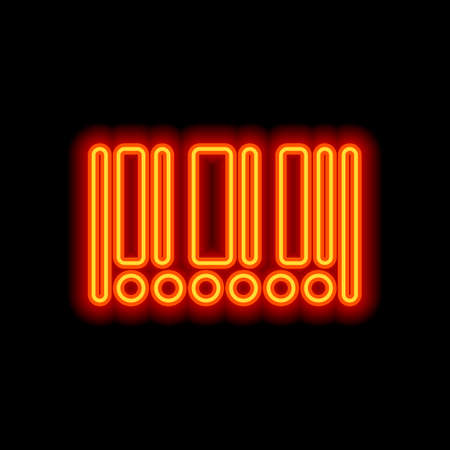 Barcode icon. Circles instead of numbers. Orange neon style on black background. Light icon Иллюстрация