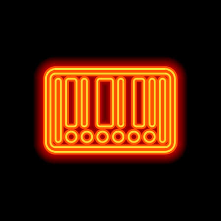 Barcode label icon. Circles instead of numbers. Orange neon style on black background. Light icon Иллюстрация