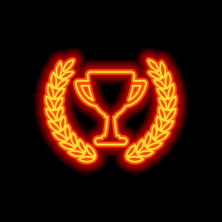 Champions cup with laurel wreath. Simple icon. Orange neon style on black background. Light icon