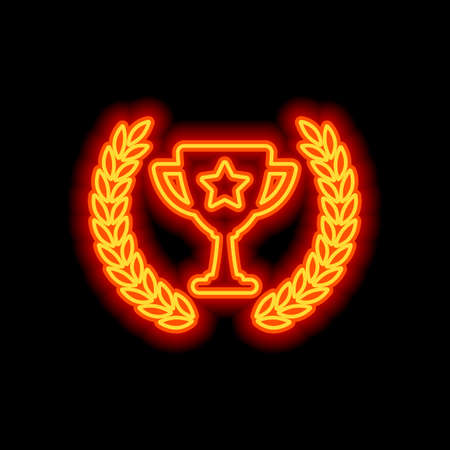 Champions cup with laurel wreath and star. Simple icon. Orange neon style on black background. Light icon