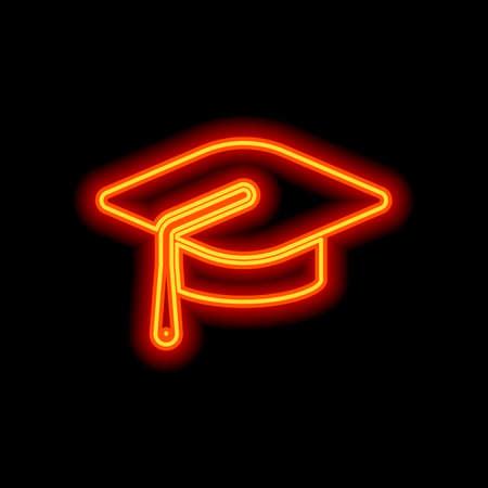Graduation cap. Education icon. Orange neon style on black background. Light icon
