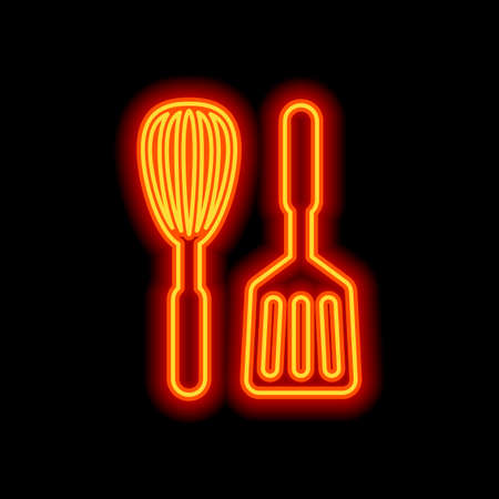 Kitchen tool icon. Whisk and spatula. Orange neon style on black background. Light icon