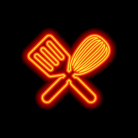 Kitchen tool icon. Whisk and spatula, criss and cross. Orange neon style on black background. Light icon