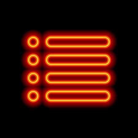 Simple list menu icon. Orange neon style on black background. Light icon Иллюстрация