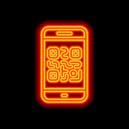 QR code. Scanning with cell phone. Technology outline icon. Orange neon style on black background. Light icon