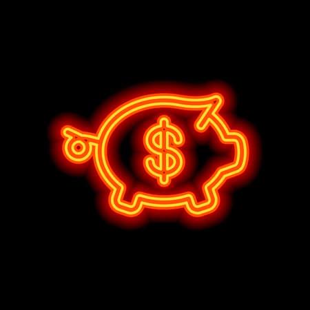 Piggy bank with dollar symbol. Business icon. Orange neon style on black background. Light icon Çizim