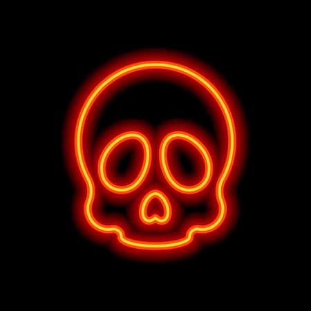 Simple skull icon. Orange neon style on black background. Light icon Ilustração