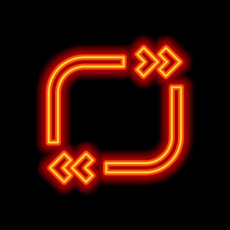 Text quote square. Simple icon. Orange neon style on black background. Light icon