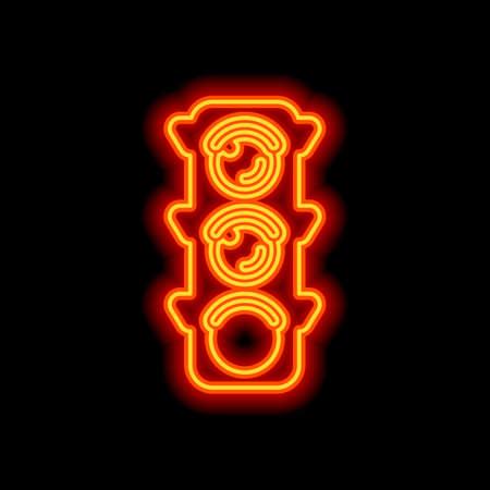 Traffic light icon. Sign of walk, green or go. Orange neon style on black background. Light icon