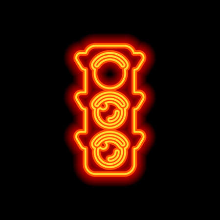 Traffic light icon. Sign of stop, red or stand. Orange neon style on black background. Light icon