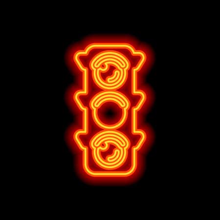 Traffic light icon. Sign of wait, yellow or ready. Orange neon style on black background. Light icon  イラスト・ベクター素材