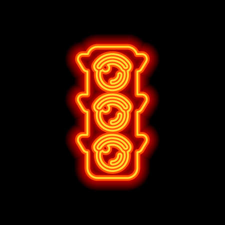 Traffic light icon. Orange neon style on black background. Light icon  イラスト・ベクター素材
