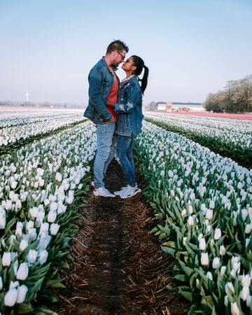 Tulip flower field during sunset dusk in the Netherlands Noordoostpolder Europe, happy young couple men and woman with dress posing in flower field in the Netherlands