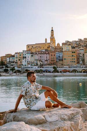 Menton France,men on vacation at the Cote d Azur France, View on old part of Menton, Provence-Alpes-Cote dAzur, France Europe Stock Photo
