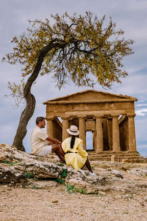 Valley of the Temples at Agrigento Sicily, Italy Europe, couple visiting Sicily during vacation Archivio Fotografico