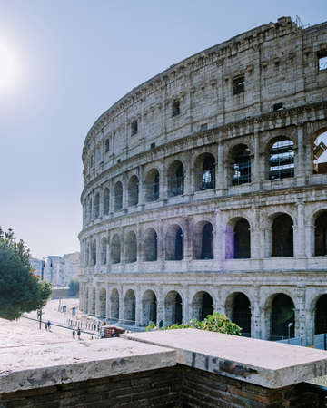 View of Colosseum in Rome and morning sun, Italy, Europe. 写真素材