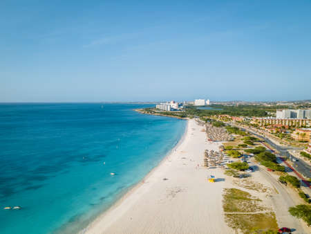 Eagle Beach Aruba, Palm Trees on the shoreline of Eagle Beach in Aruba, drone view at a beach with palm trees and umbrellas