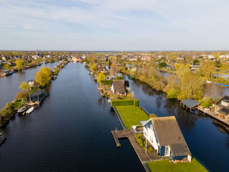 Aerial view of small islands in the Lake Vinkeveense Plassen, near Vinkeveen, Holland. It is a beautiful nature area for recreation in the Netherlands. Vinkeveen is mainly famous for the Vinkeveense Plassen