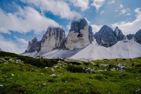 Tre Cime di Lavaredo peaks or Drei Zinnen at sunset, Dobbiaco Toblach, Trentino -Alto Adige or South Tyrol, Italy. Europe Alps