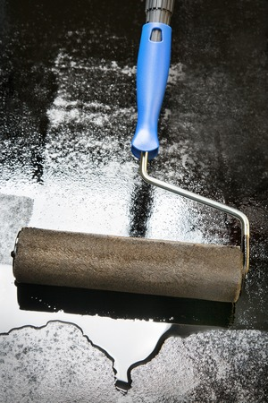 photorealism: mastic asphalt surface using a paint roller with handle blue