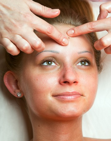 portrait of a girl on examination at the beautician in a beauty clinic Stock Photo
