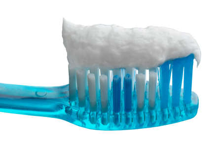 Close-up toothbrush and toothpaste on an isolated background Stock Photo