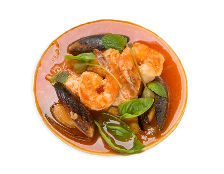nourishing: Asian soup with prawns on an isolated background