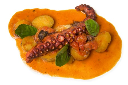 cross legs: portion of food with an octopus on an isolated background