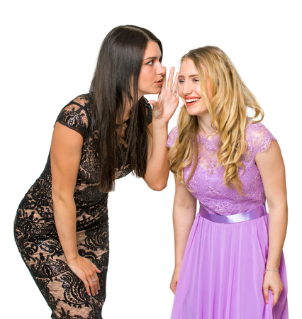 two girls communicate with each other on an isolated background