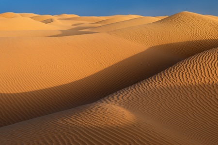 landscape overlooking the sand dunes in the Sahara desert in Tunisia