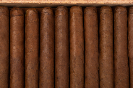 expensive cigars in a wooden box. background and texture of Cuban cigars. the view from the top Stock Photo