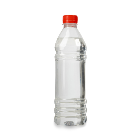 plastic bottles with pure spring water on isolated background.with red plastic cover