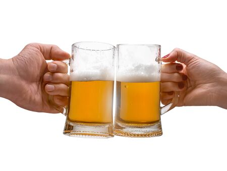 mans and womans hand with a mug of beer on the isolated