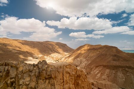 beautiful nature near the dead sea in Israel. bright clouds in the blue sky