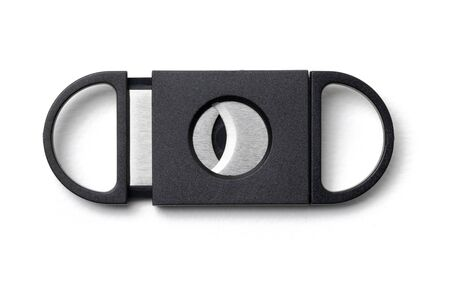 black cigar cutter on white background